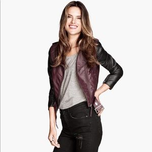 H&M burgundy faux leather jacket.